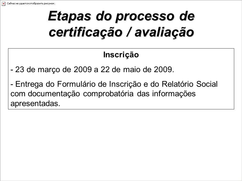Etapas do processo de certificação / avaliação Inscrição - 23 de março de 2009 a 22 de maio de 2009.