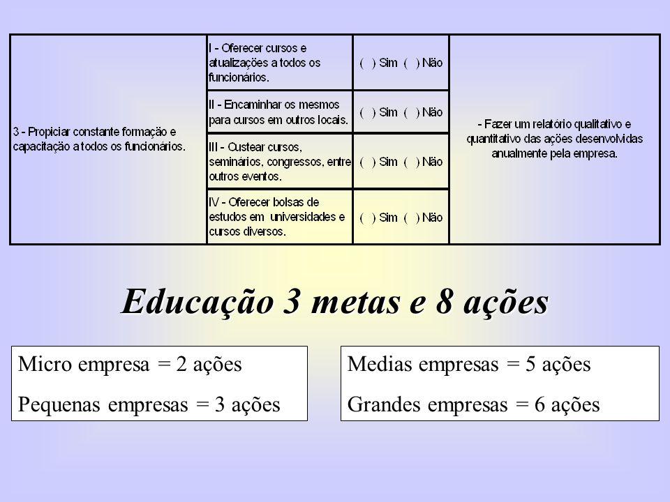 Educação 3 metas e 8 ações Micro empresa = 2 ações Pequenas empresas = 3 ações Medias empresas = 5 ações Grandes empresas = 6 ações