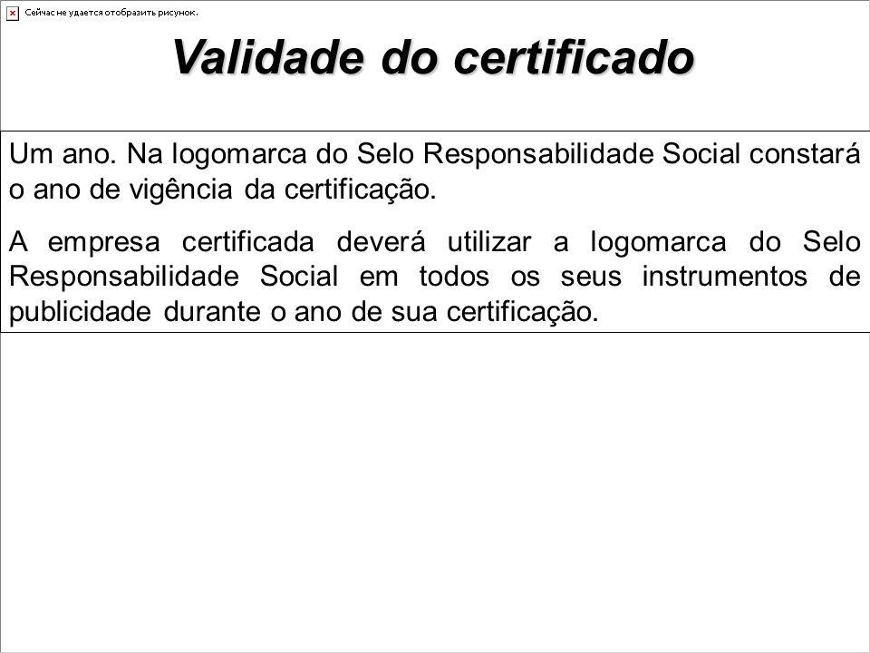 Validade do certificado Um ano.