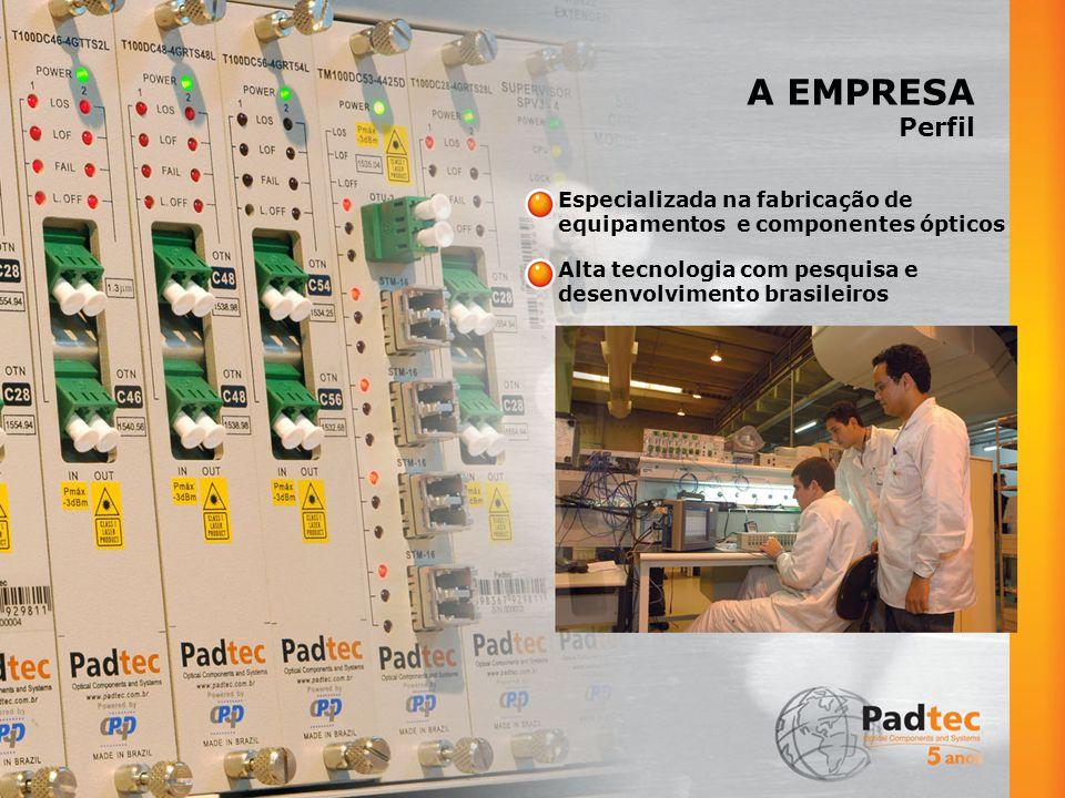 A EMPRESA Perfil Especializada na fabricação de equipamentos e componentes ópticos Alta tecnologia com pesquisa e desenvolvimento brasileiros