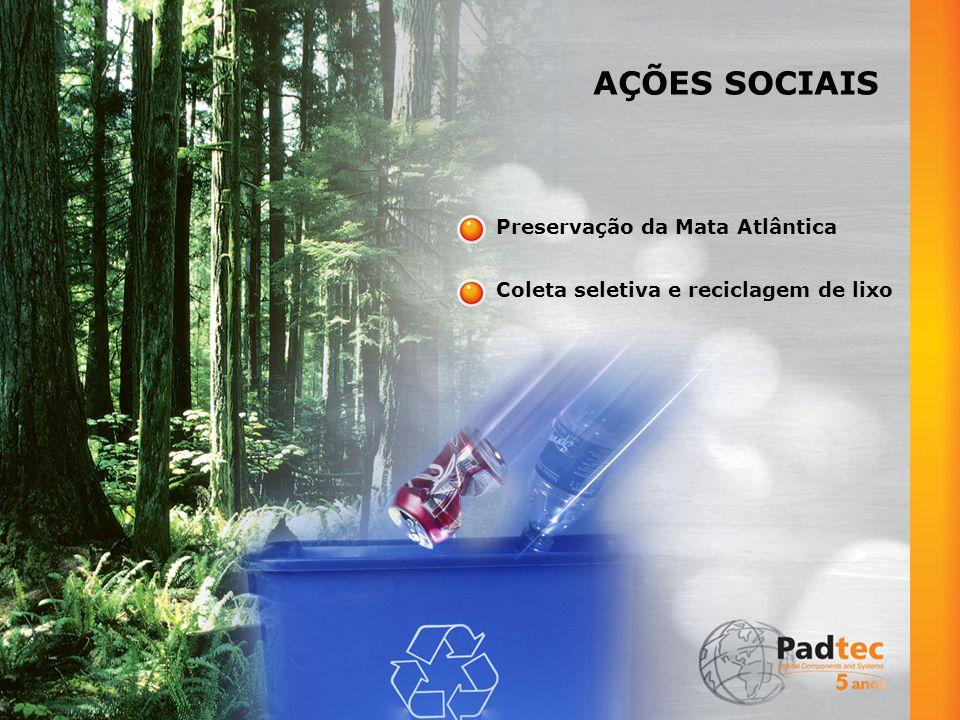 AÇÕES SOCIAIS Preservação da Mata Atlântica Coleta seletiva e reciclagem de lixo
