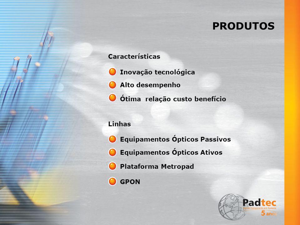 PRODUTOS Inovação tecnológica Características Alto desempenho Ótima relação custo benefício Equipamentos Ópticos Passivos Linhas Equipamentos Ópticos Ativos Plataforma Metropad GPON