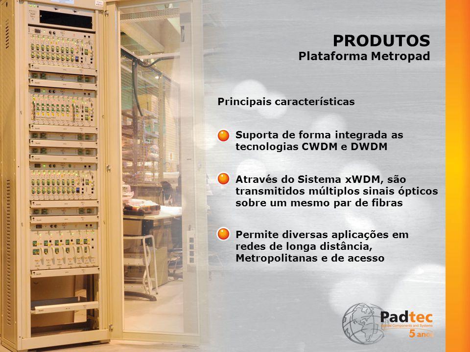 PRODUTOS Plataforma Metropad Suporta de forma integrada as tecnologias CWDM e DWDM Principais características Através do Sistema xWDM, são transmitidos múltiplos sinais ópticos sobre um mesmo par de fibras Permite diversas aplicações em redes de longa distância, Metropolitanas e de acesso