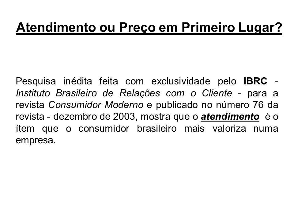 Atendimento ou Preço em Primeiro Lugar? Pesquisa inédita feita com exclusividade pelo IBRC - Instituto Brasileiro de Relações com o Cliente - para a r