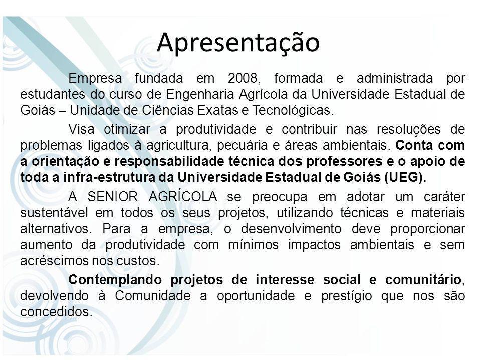 Apresentação Empresa fundada em 2008, formada e administrada por estudantes do curso de Engenharia Agrícola da Universidade Estadual de Goiás – Unidade de Ciências Exatas e Tecnológicas.