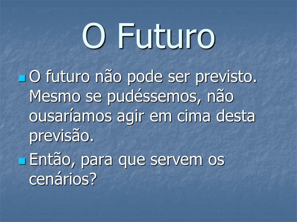 O Futuro O futuro não pode ser previsto. Mesmo se pudéssemos, não ousaríamos agir em cima desta previsão. O futuro não pode ser previsto. Mesmo se pud