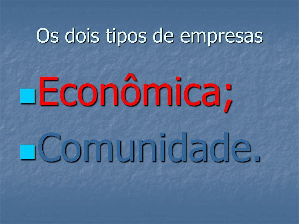 Os dois tipos de empresas Econômica; Econômica; Comunidade. Comunidade.