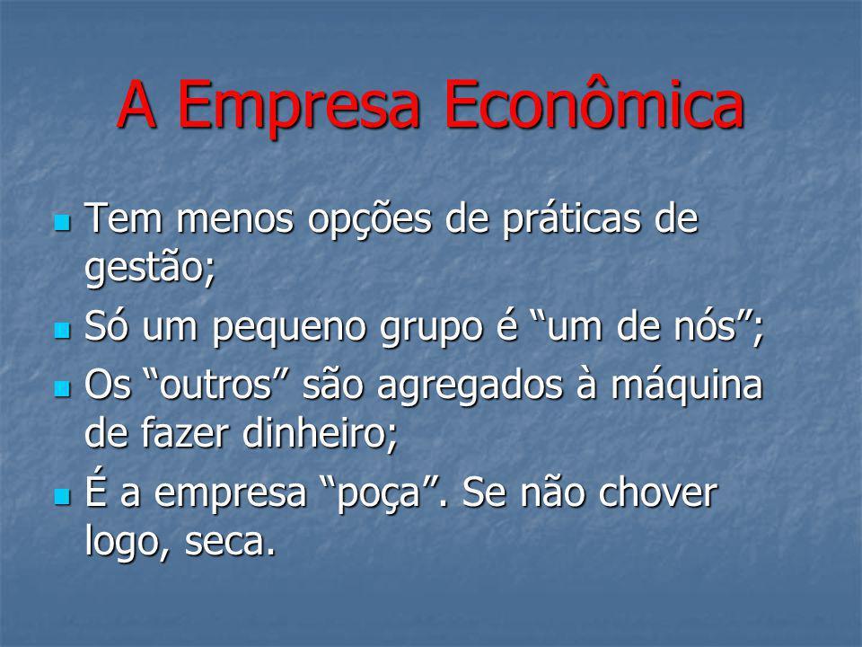 """A Empresa Econômica Tem menos opções de práticas de gestão; Tem menos opções de práticas de gestão; Só um pequeno grupo é """"um de nós""""; Só um pequeno g"""