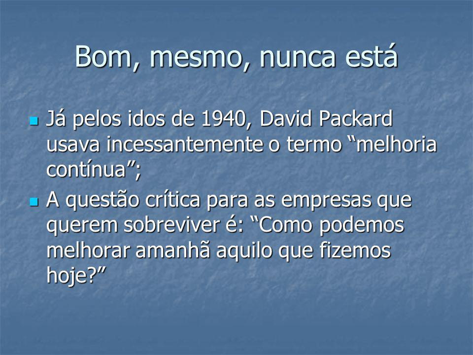"""Bom, mesmo, nunca está Já pelos idos de 1940, David Packard usava incessantemente o termo """"melhoria contínua""""; Já pelos idos de 1940, David Packard us"""
