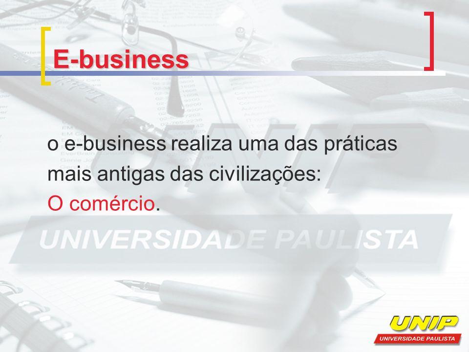 E-business o e-business realiza uma das práticas mais antigas das civilizações: O comércio.