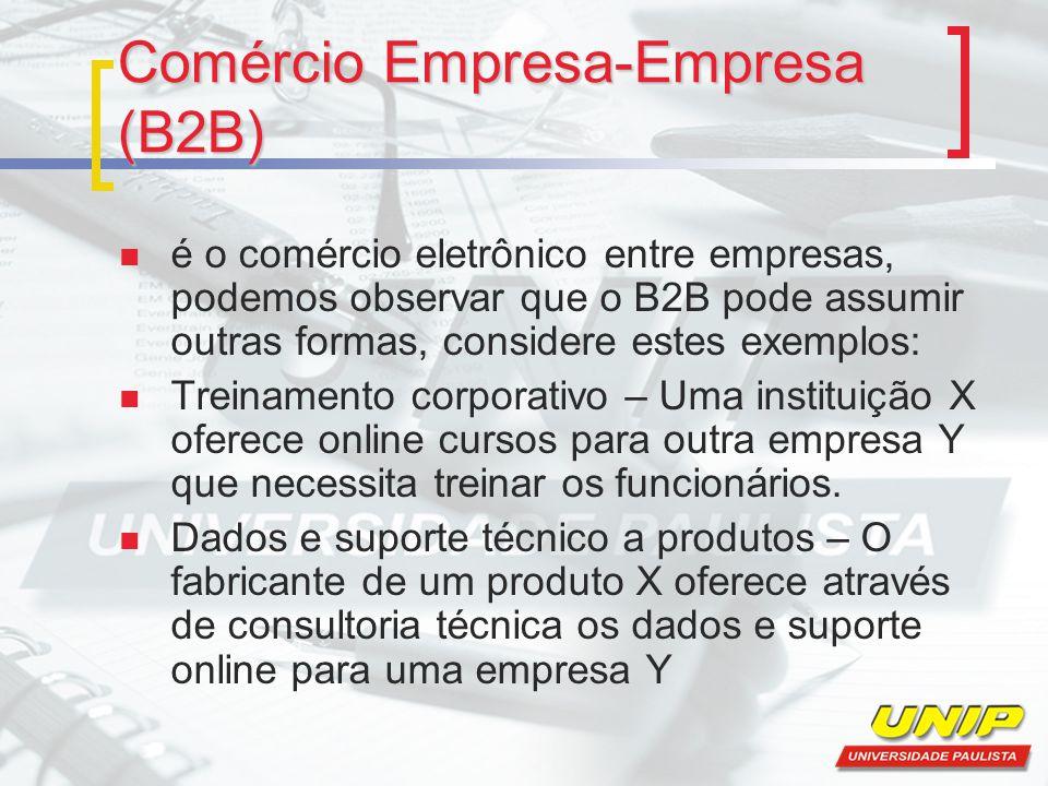 Comércio Empresa-Empresa (B2B) é o comércio eletrônico entre empresas, podemos observar que o B2B pode assumir outras formas, considere estes exemplos: Treinamento corporativo – Uma instituição X oferece online cursos para outra empresa Y que necessita treinar os funcionários.