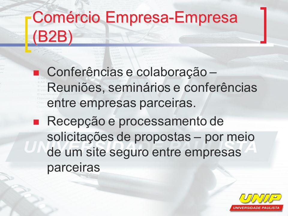 Comércio Empresa-Empresa (B2B) Conferências e colaboração – Reuniões, seminários e conferências entre empresas parceiras.
