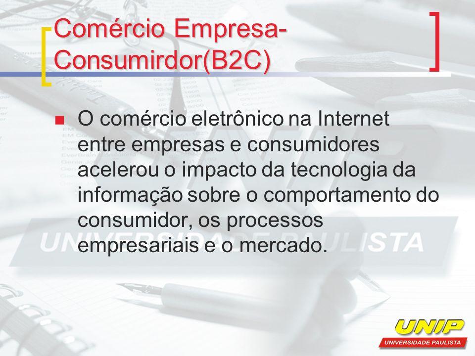Comércio Empresa- Consumirdor(B2C) O comércio eletrônico na Internet entre empresas e consumidores acelerou o impacto da tecnologia da informação sobre o comportamento do consumidor, os processos empresariais e o mercado.