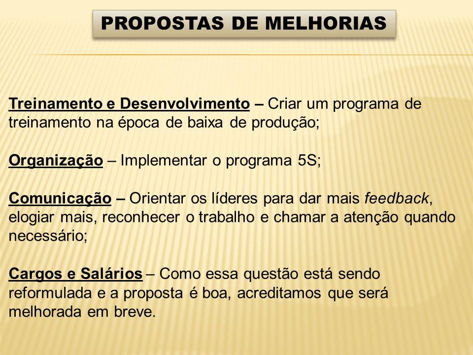 PROPOSTAS DE MELHORIAS Treinamento e Desenvolvimento – Criar um programa de treinamento na época de baixa de produção; Organização – Implementar o pro