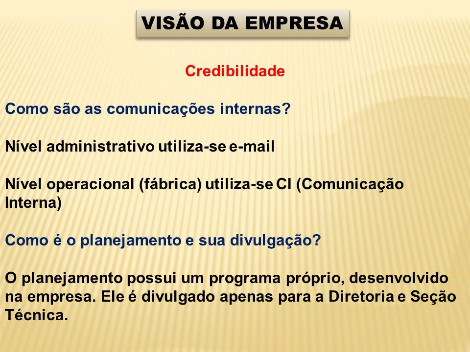 VISÃO DA EMPRESA Credibilidade Como são as comunicações internas? Nível administrativo utiliza-se e-mail Nível operacional (fábrica) utiliza-se CI (Co