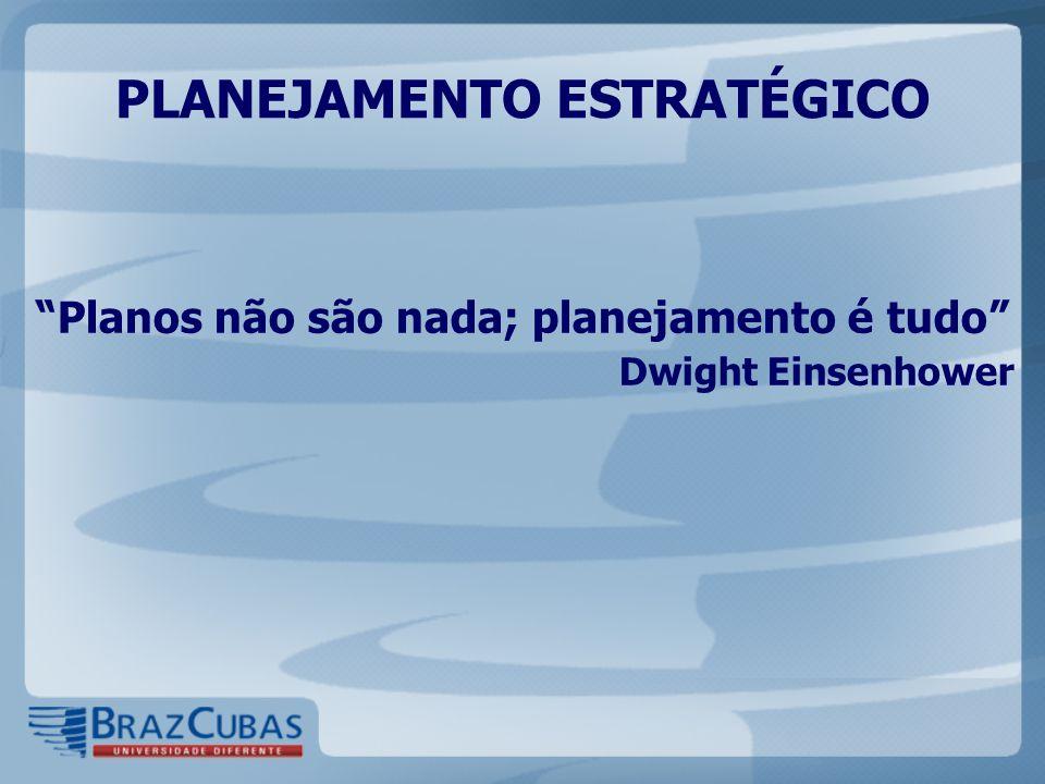 Planos não são nada; planejamento é tudo Dwight Einsenhower PLANEJAMENTO ESTRATÉGICO