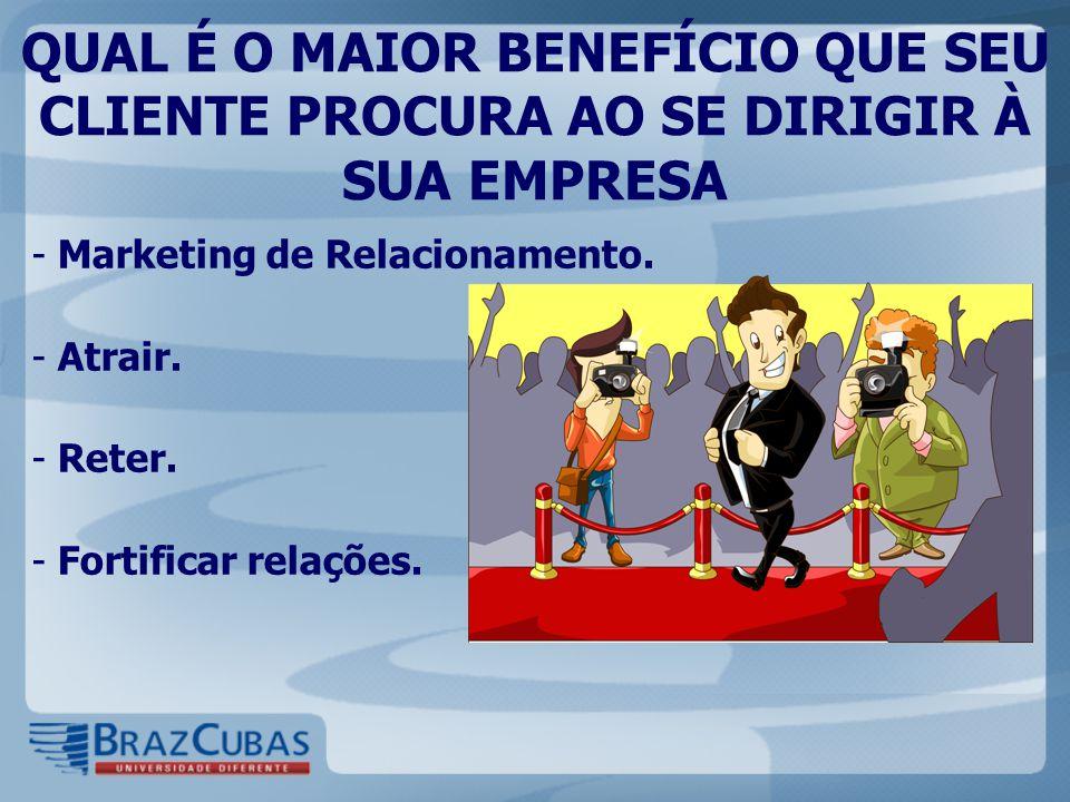 QUAL É O MAIOR BENEFÍCIO QUE SEU CLIENTE PROCURA AO SE DIRIGIR À SUA EMPRESA - Marketing de Relacionamento.