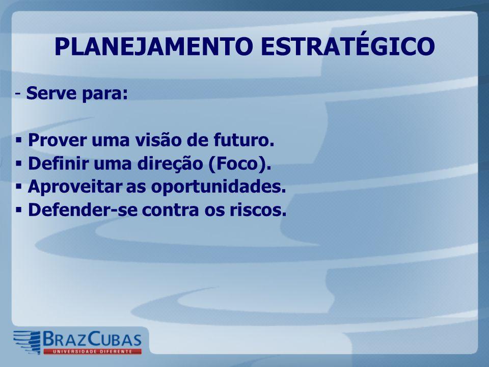 - Serve para:  Prover uma visão de futuro.  Definir uma direção (Foco).  Aproveitar as oportunidades.  Defender-se contra os riscos. PLANEJAMENTO