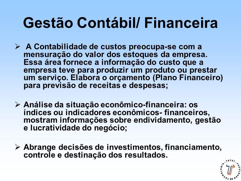 Gestão Contábil/ Financeira  A Contabilidade de custos preocupa-se com a mensuração do valor dos estoques da empresa. Essa área fornece a informação