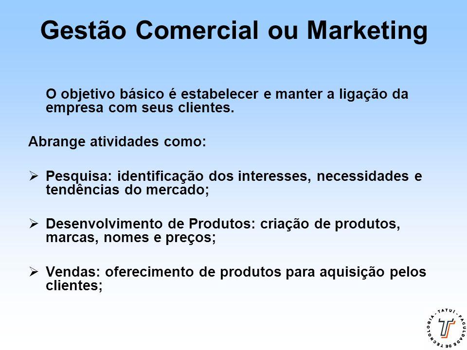 Gestão Comercial ou Marketing O objetivo básico é estabelecer e manter a ligação da empresa com seus clientes. Abrange atividades como:  Pesquisa: id