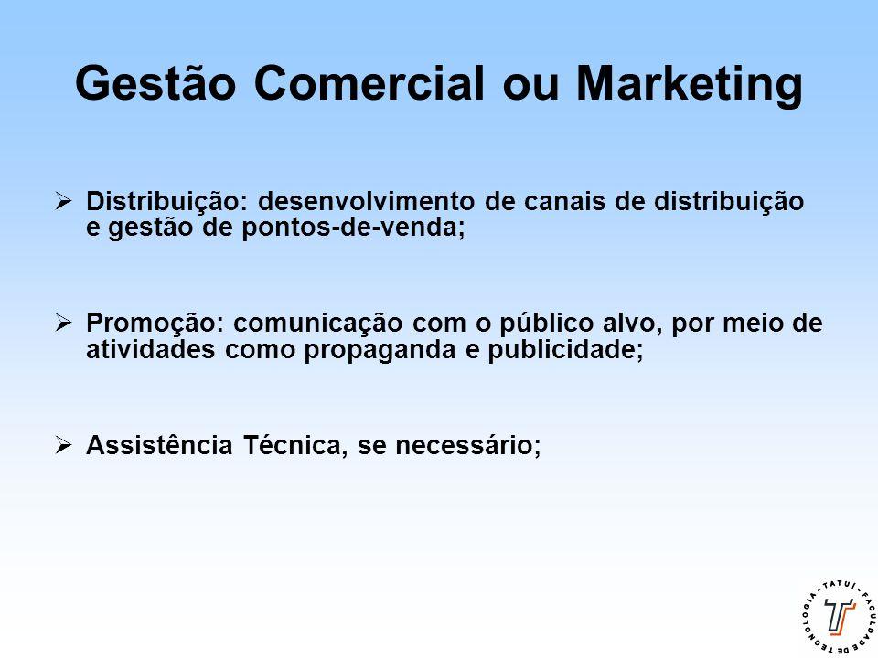 Gestão Comercial ou Marketing  Distribuição: desenvolvimento de canais de distribuição e gestão de pontos-de-venda;  Promoção: comunicação com o púb