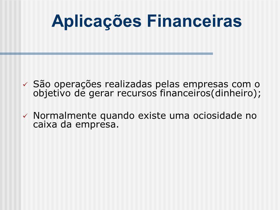 Aplicações Financeiras São operações realizadas pelas empresas com o objetivo de gerar recursos financeiros(dinheiro); Normalmente quando existe uma ociosidade no caixa da empresa.
