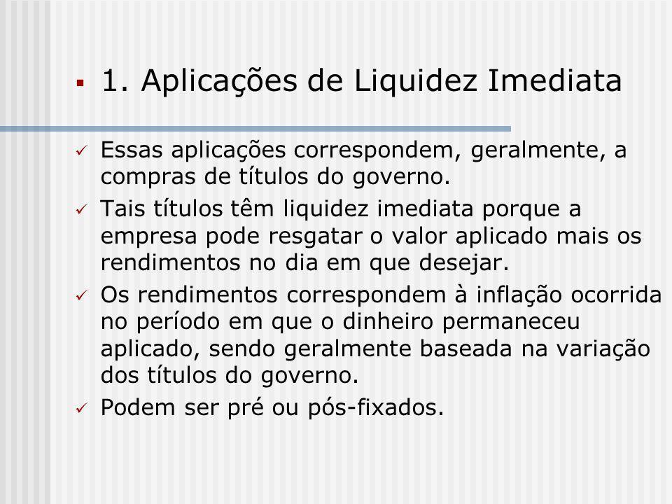  1. Aplicações de Liquidez Imediata Essas aplicações correspondem, geralmente, a compras de títulos do governo. Tais títulos têm liquidez imediata po