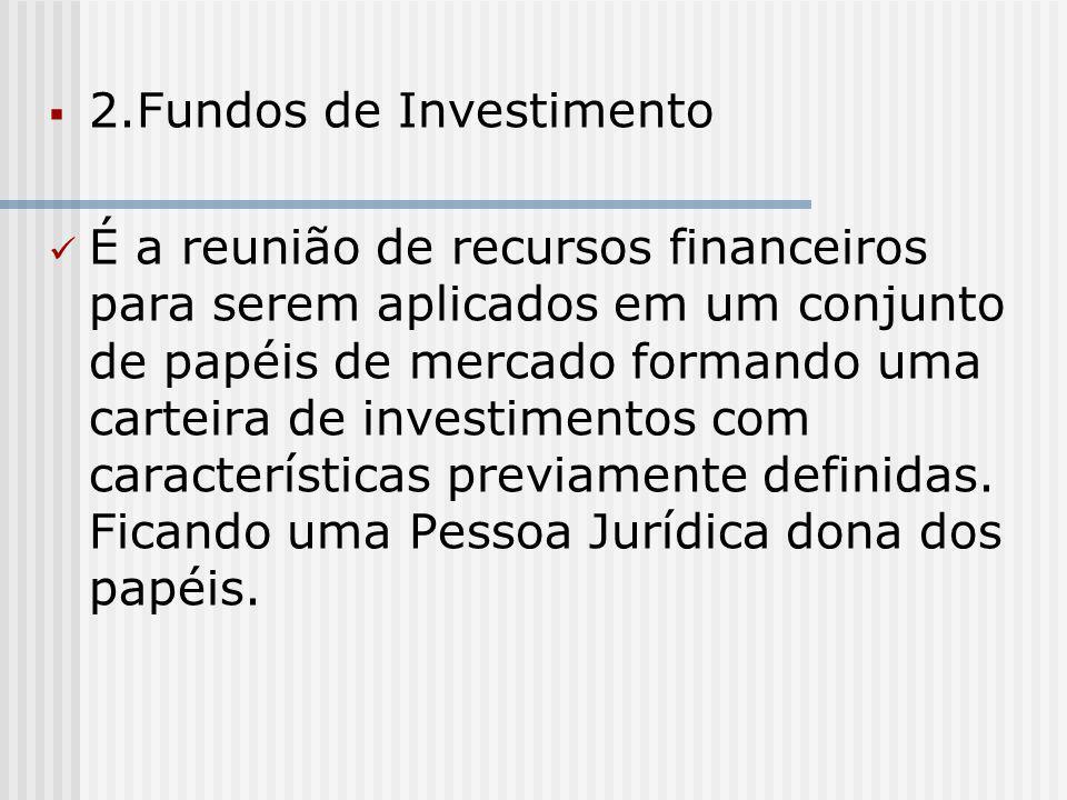  2.Fundos de Investimento É a reunião de recursos financeiros para serem aplicados em um conjunto de papéis de mercado formando uma carteira de investimentos com características previamente definidas.