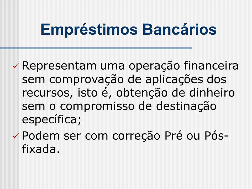 Empréstimos Bancários Representam uma operação financeira sem comprovação de aplicações dos recursos, isto é, obtenção de dinheiro sem o compromisso de destinação específica; Podem ser com correção Pré ou Pós- fixada.
