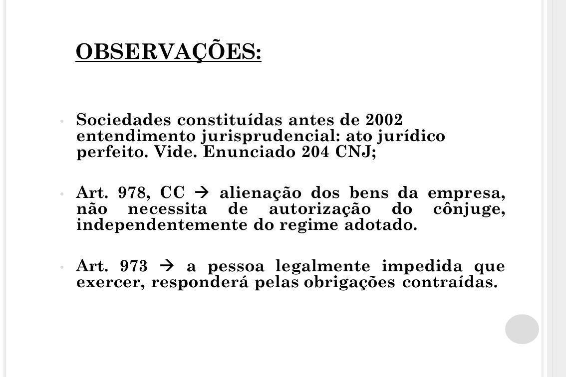 OBSERVAÇÕES: Sociedades constituídas antes de 2002 entendimento jurisprudencial: ato jurídico perfeito. Vide. Enunciado 204 CNJ; Art. 978, CC  aliena