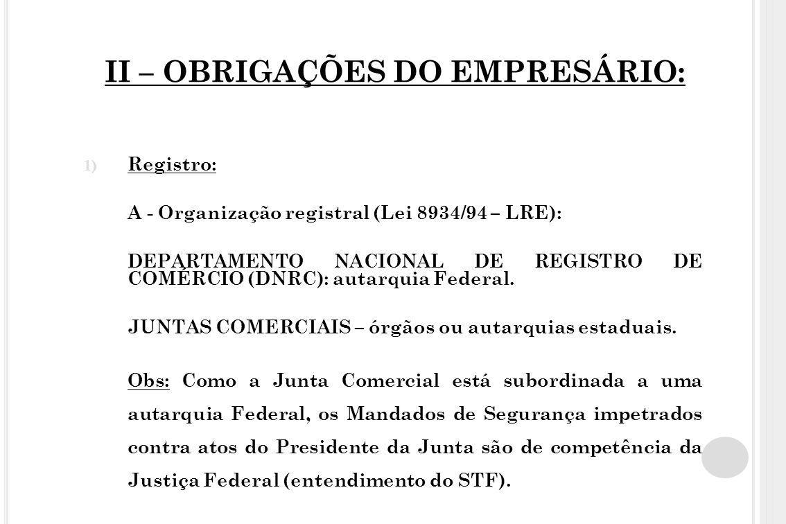 II – OBRIGAÇÕES DO EMPRESÁRIO: 1) Registro: A - Organização registral (Lei 8934/94 – LRE): DEPARTAMENTO NACIONAL DE REGISTRO DE COMÉRCIO (DNRC): autar