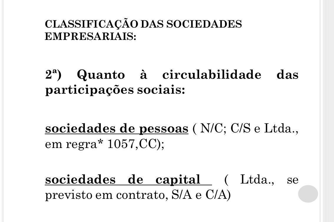 CLASSIFICAÇÃO DAS SOCIEDADES EMPRESARIAIS: 2ª) Quanto à circulabilidade das participações sociais: sociedades de pessoas ( N/C; C/S e Ltda., em regra*