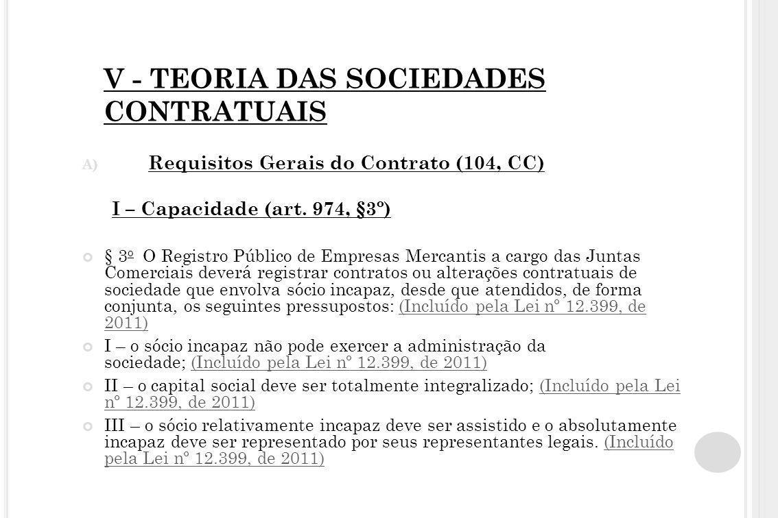 V - TEORIA DAS SOCIEDADES CONTRATUAIS A) Requisitos Gerais do Contrato (104, CC) I – Capacidade (art. 974, §3º) § 3 o O Registro Público de Empresas M