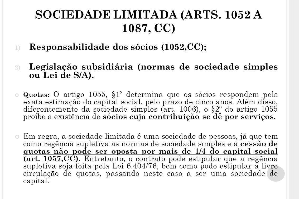 SOCIEDADE LIMITADA (ARTS. 1052 A 1087, CC) 1) Responsabilidade dos sócios (1052,CC); 2) Legislação subsidiária (normas de sociedade simples ou Lei de