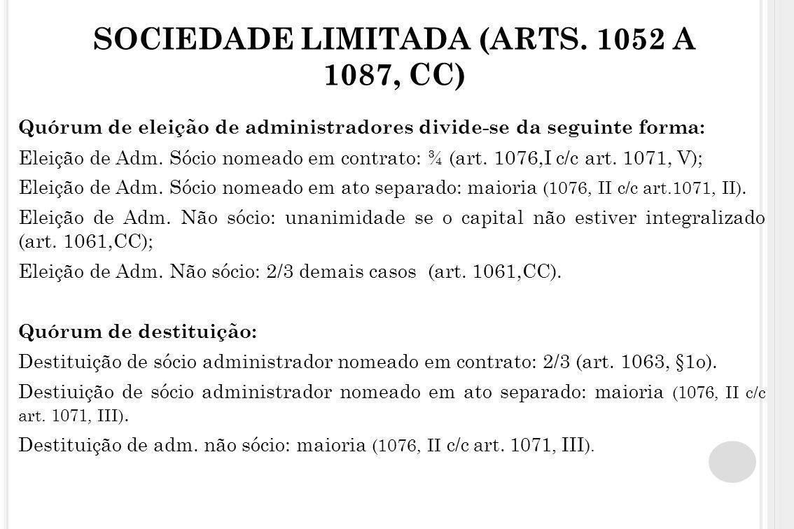 SOCIEDADE LIMITADA (ARTS. 1052 A 1087, CC) Quórum de eleição de administradores divide-se da seguinte forma: Eleição de Adm. Sócio nomeado em contrato