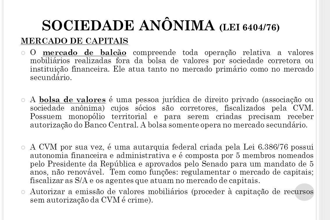SOCIEDADE ANÔNIMA (LEI 6404/76) MERCADO DE CAPITAIS O mercado de balcão compreende toda operação relativa a valores mobiliários realizadas fora da bol