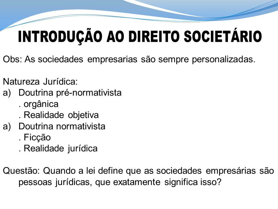 Obs: As sociedades empresarias são sempre personalizadas. Natureza Jurídica: a)Doutrina pré-normativista. orgânica. Realidade objetiva a)Doutrina norm