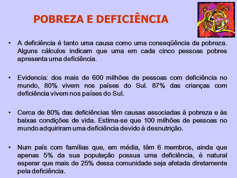 POBREZA E DEFICIÊNCIA No Brasil, de acordo com o Censo de 2000, dos 24.650.000 brasileiros com deficiência, 27% vivem em situação de pobreza extrema e 53% são pobres.