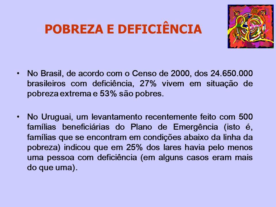 POBREZA E DEFICIÊNCIA No Brasil, de acordo com o Censo de 2000, dos 24.650.000 brasileiros com deficiência, 27% vivem em situação de pobreza extrema e