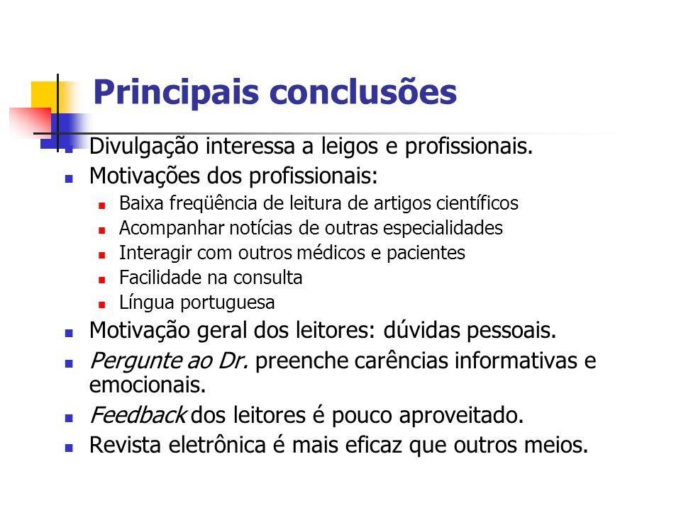 Principais conclusões Divulgação interessa a leigos e profissionais.