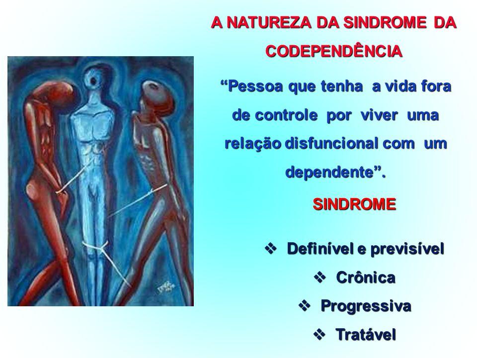 A DEPENDÊNCIA QUÍMICA SÍNDROME PRIMÁRIAPRIMÁRIA CRÔNICACRÔNICA PROGRESSIVAPROGRESSIVA TRATÁVELTRATÁVEL PRINCIPAL CARACTERÍSTICA:PERDA DE CONTROLE DO USO / DA VIDA DO USO / DA VIDA