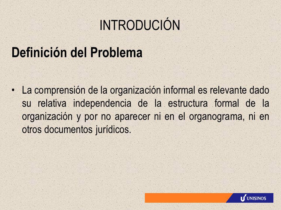 INTRODUCIÓN Definición del Problema La comprensión de la organización informal es relevante dado su relativa independencia de la estructura formal de