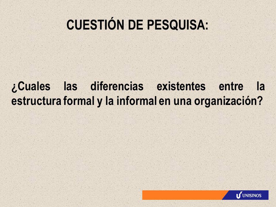CUESTIÓN DE PESQUISA: ¿Cuales las diferencias existentes entre la estructura formal y la informal en una organización?