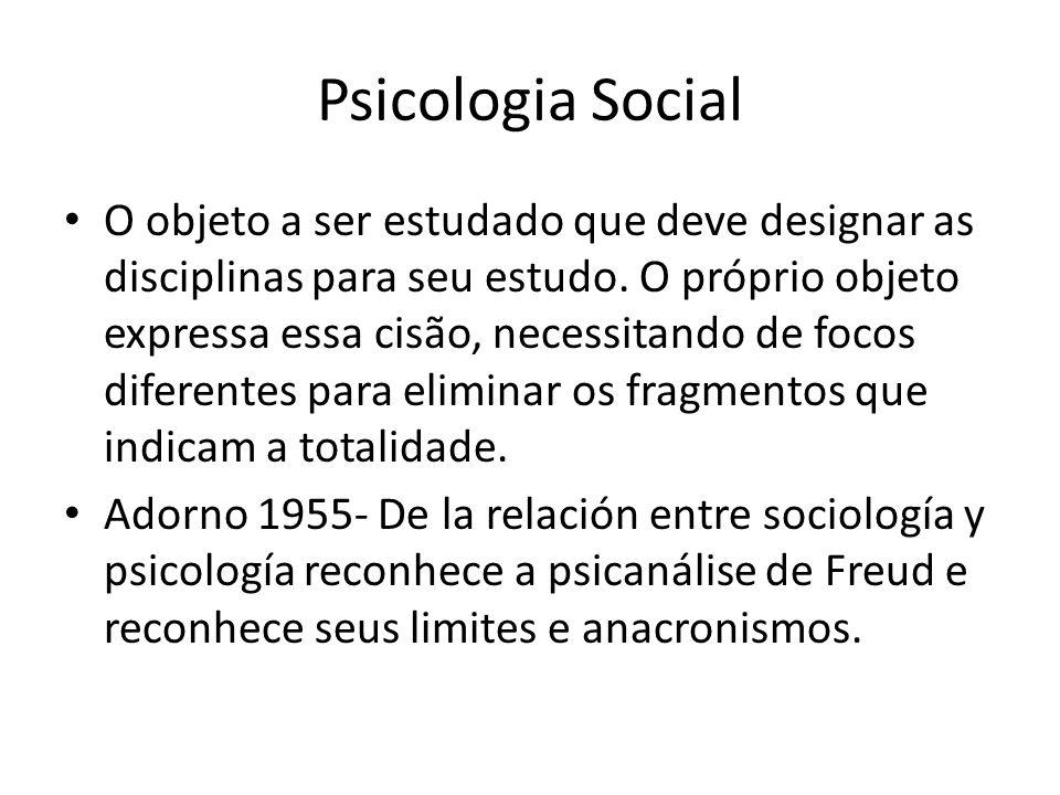 Psicologia Social O objeto a ser estudado que deve designar as disciplinas para seu estudo.