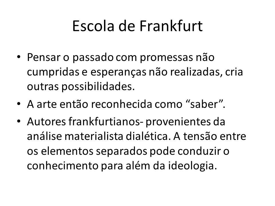 Escola de Frankfurt Pensar o passado com promessas não cumpridas e esperanças não realizadas, cria outras possibilidades.
