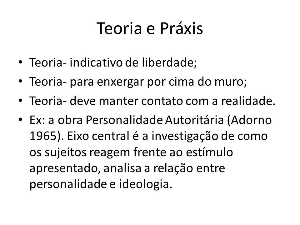 Teoria e Práxis Teoria- indicativo de liberdade; Teoria- para enxergar por cima do muro; Teoria- deve manter contato com a realidade.