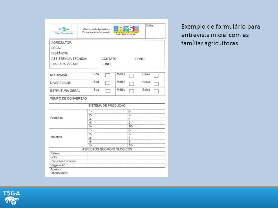 Exemplo de formulário para entrevista inicial com as famílias agricultoras.