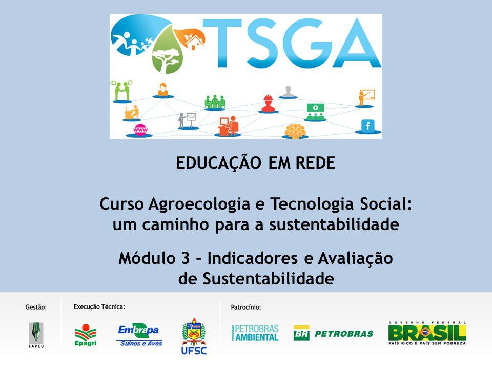 EDUCAÇÃO EM REDE Curso Agroecologia e Tecnologia Social: um caminho para a sustentabilidade Módulo 3 – Indicadores e Avaliação de Sustentabilidade
