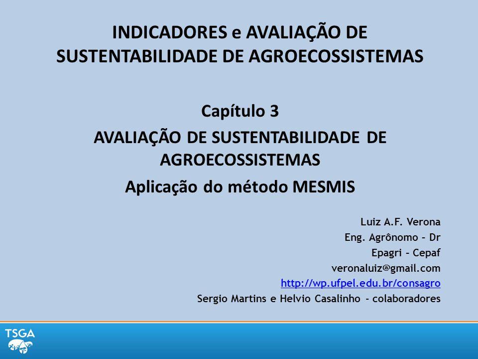INDICADORES e AVALIAÇÃO DE SUSTENTABILIDADE DE AGROECOSSISTEMAS Capítulo 3 AVALIAÇÃO DE SUSTENTABILIDADE DE AGROECOSSISTEMAS Aplicação do método MESMI