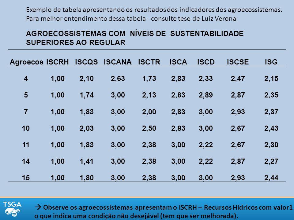 Exemplo de tabela apresentando os resultados dos indicadores dos agroecossistemas. Para melhor entendimento dessa tabela - consulte tese de Luiz Veron